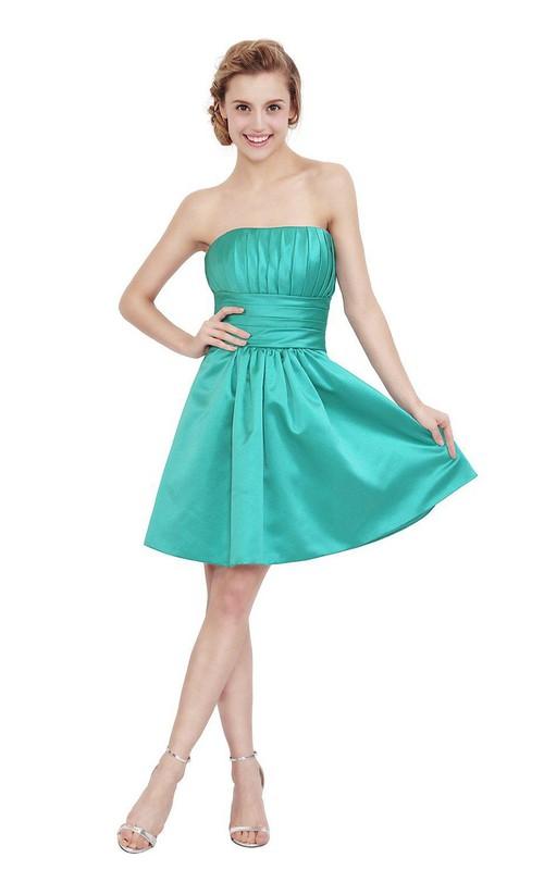 A-Line Pleated Strapless Impressive Satin Dress