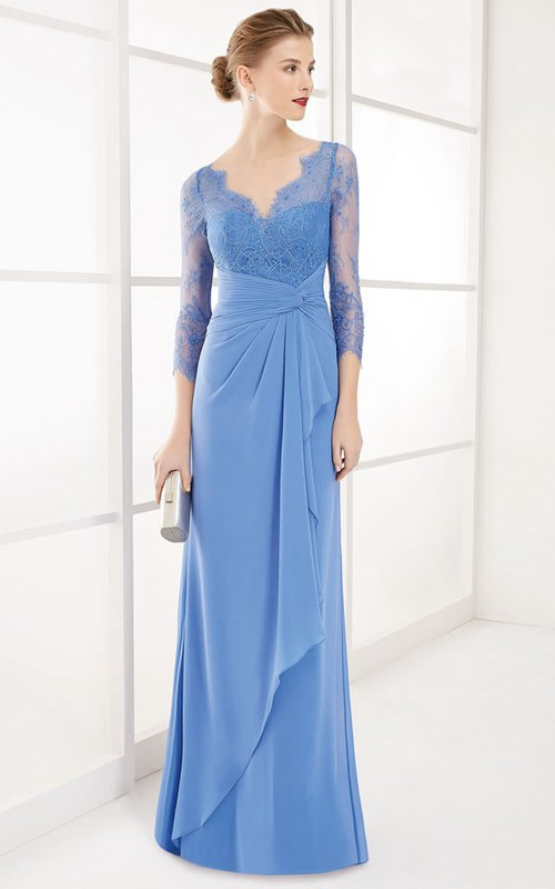 Plunged Illusion 3-4-sleeve Lace Dress With central Ruching