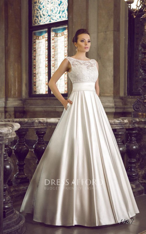 Wedding Illusion Back Satin Lace Dress