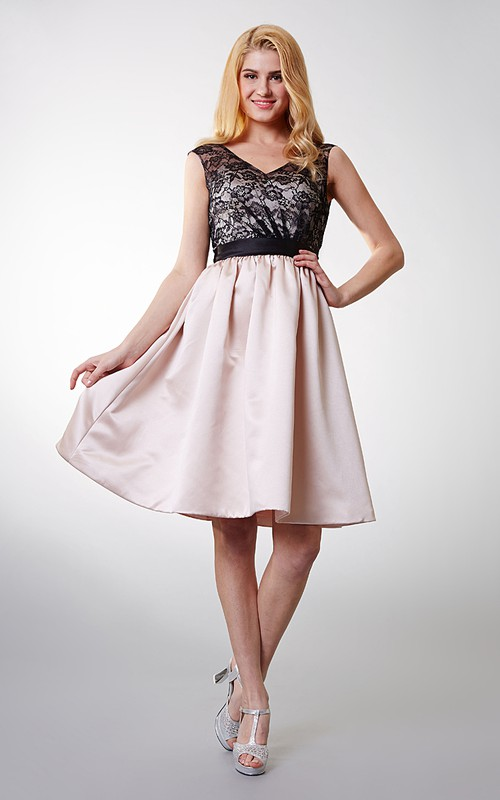 Lace Satin-Sash-Belt Country Enchanting Short Dress