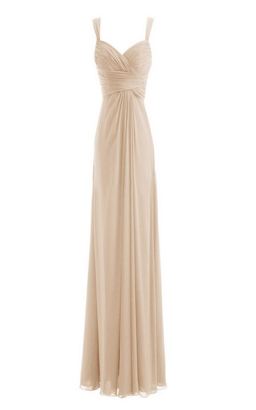 Chiffon Criss-Cross Ruched High-Waist Sleeveless Dress