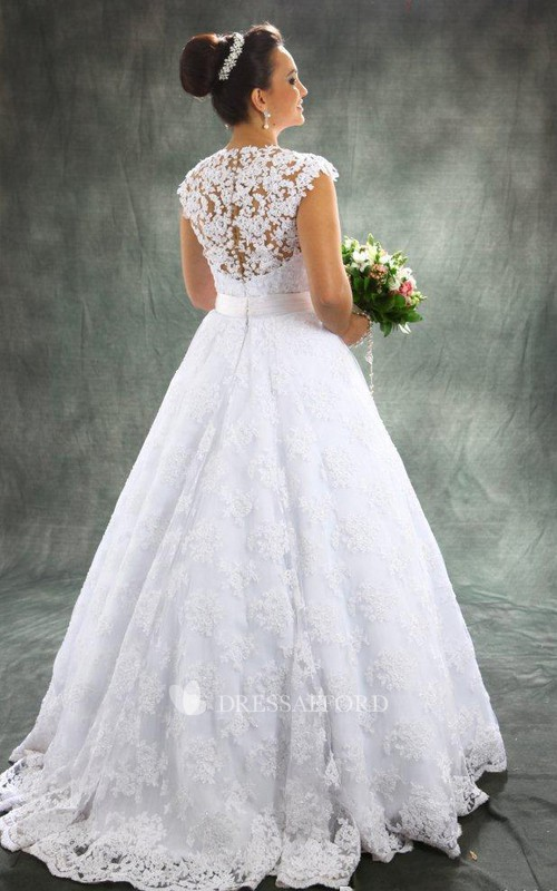 High Neck Lace Cap Short Sleeve Wedding Gown
