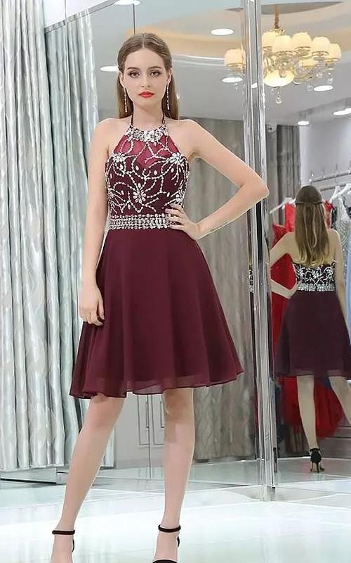 Sleeveless A-line Knee-length Halter High Neck Beading Chiffon Homecoming Dress
