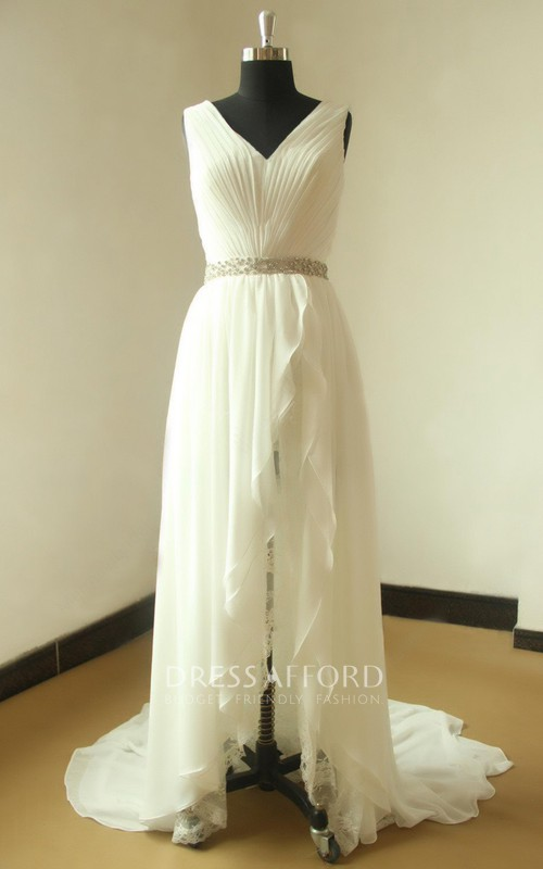 Wedding Beaded Satin Sash Ribbon Lace Chiffon Gown