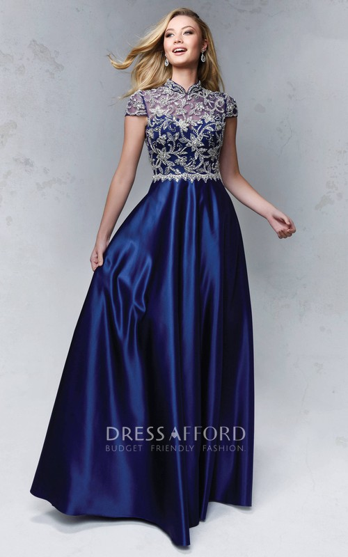 High Neck Short Sleeve A-line Satin Prom Dress With Beaded top