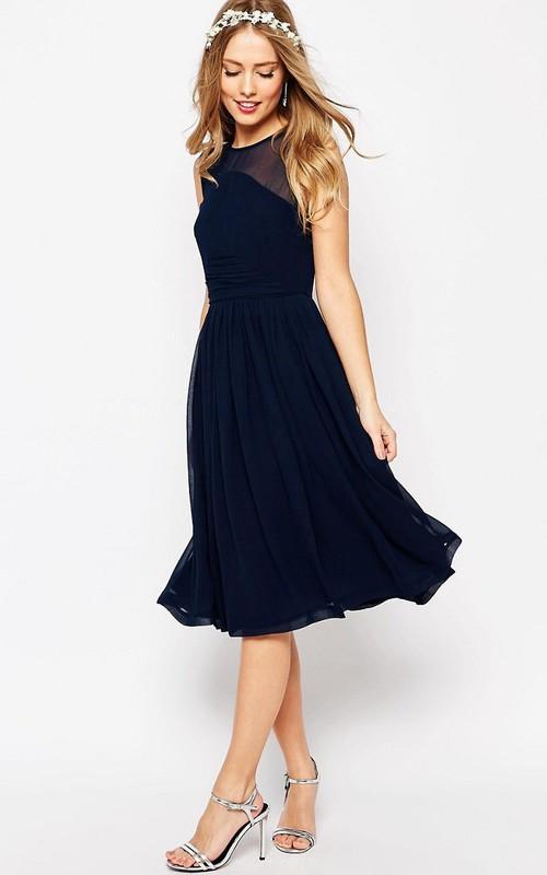 Jewel-Neck Sleeveless Chiffon A-line short Bridesmaid Dress