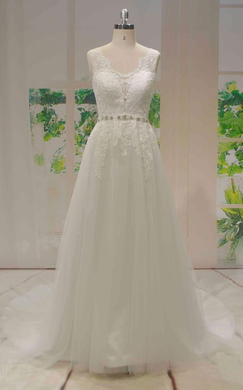 Tulle A-line Sleeveless Lace Wedding Dress With Beaded Sash And V-back With Buttons