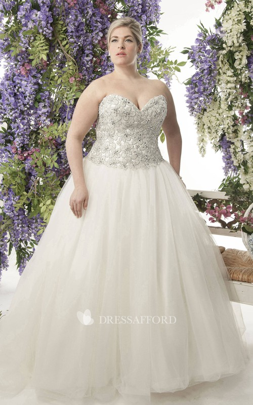 Sweetheart A-line Ball Gown plus size wedding dress With Beaded top And Corset Back