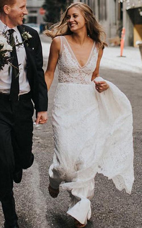 Romantic Sleeveless Lace V-neck Sheath Floor-length Chapel Train Wedding Dress