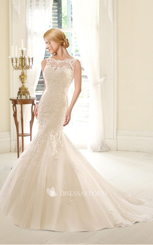Bateau Sleeveless Mermaid Lace Appliqued Wedding Dress With Deep-V Back And Court Train
