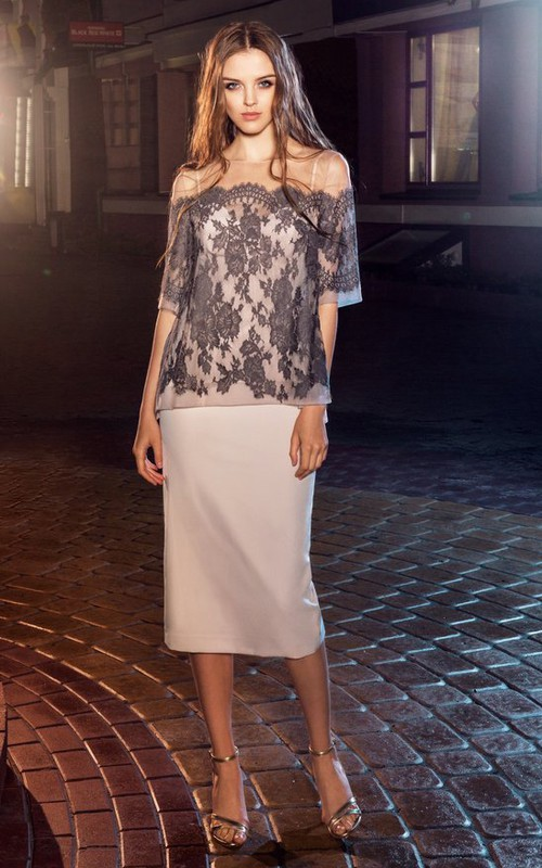 Pencil Knee-Length Off-The-Shoulder Half Sleeve Jersey Lace Dress