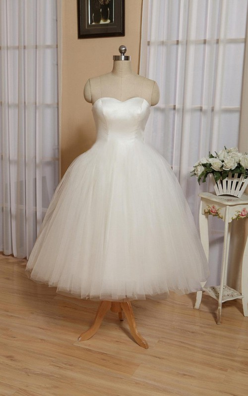 Tulle Lace-Up Back High-Waist Sweetheart Gown