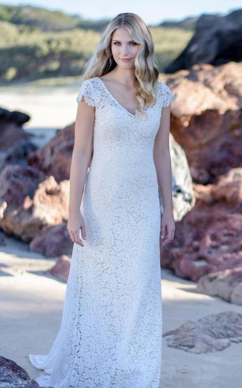Modern V-neck Sheath Lace Floor-length Low-V Back Wedding Dress