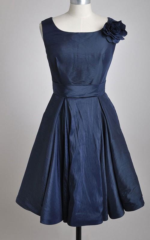 Bateau Sleeveless short A-line Dress With floral Epaulet