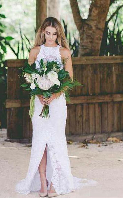 High Neck Lace  Sleeveless Wedding Dress