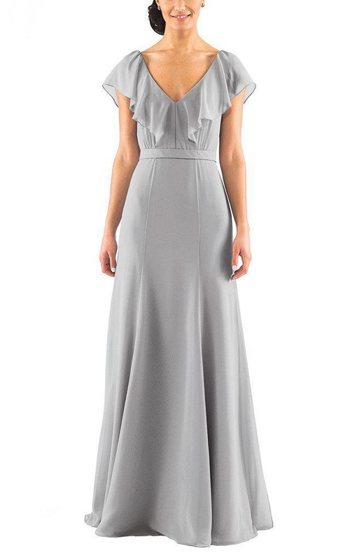 Falbala V-neck A-line Chiffon Bridesmaid Dress