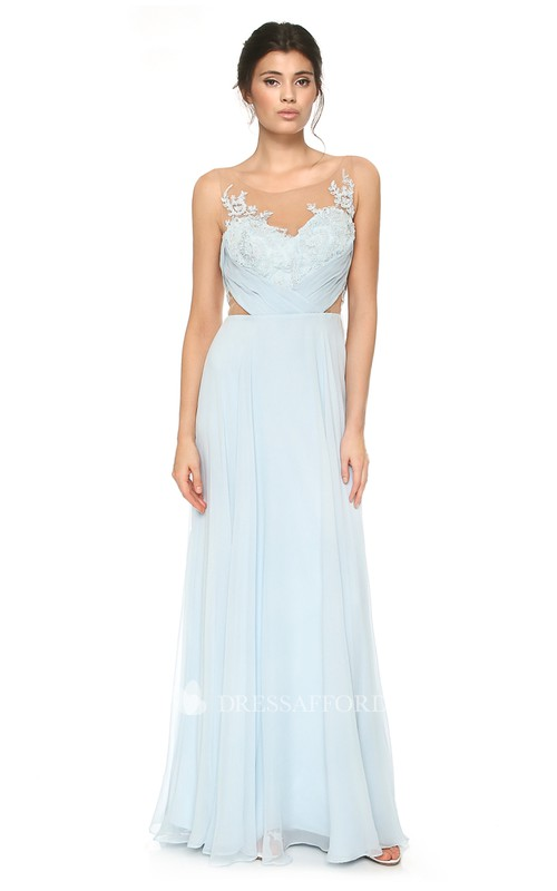 Scoop-neck Sleeveless Chiffon Long Dress With Appliques And Low-V Back