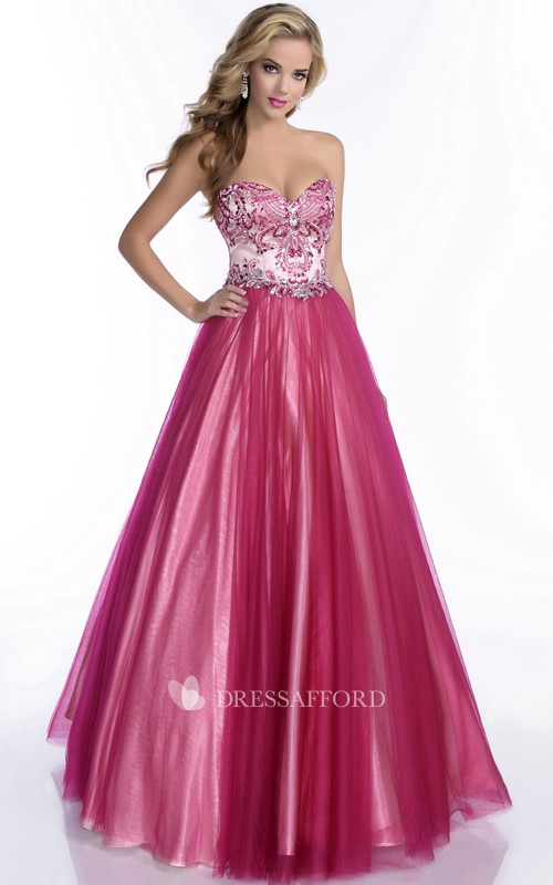 A-Line Pleated Jeweled-Bodice Sweetheart Formal Tulle Dress