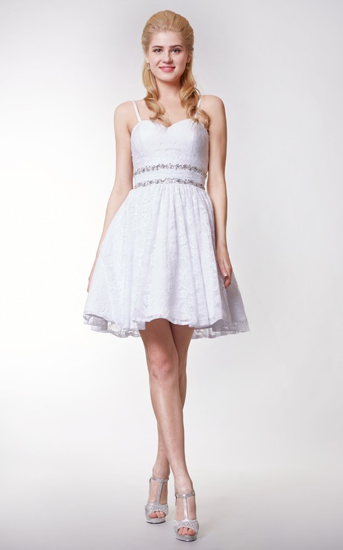 Short Lace Removable Straps Sweetheart Gorgeous Dress