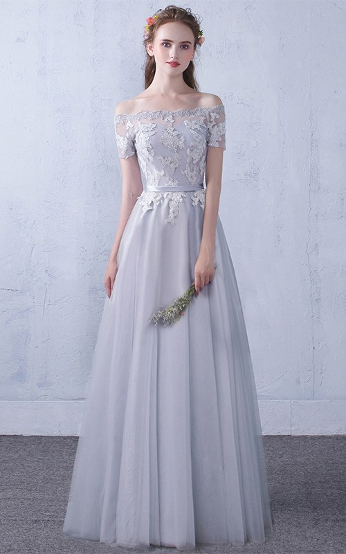 Off-the-shoulder Lace Tulle Floor-length Formal Dress With Appliques