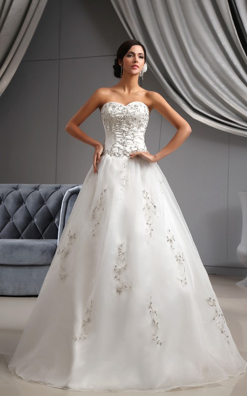 Organza Embroidered Top A-Line Sweetheart Gown