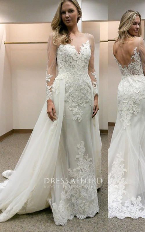 Jewel Lace Tulle Illusion Long Sleeve Wedding Dress