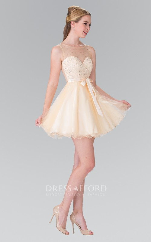 A-Line Deep-V-Back Satin Bow Short Mini Sleeveless Scoop-Neck Tulle Dress