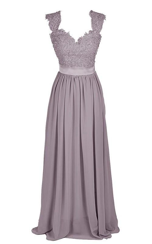 Lace Top Satin Sash Long Cap-Sleeve Gown