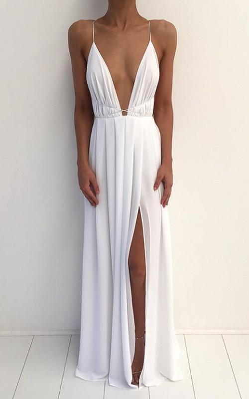 V-neck Chiffon Sleeveless Floor-length Pleats Dress