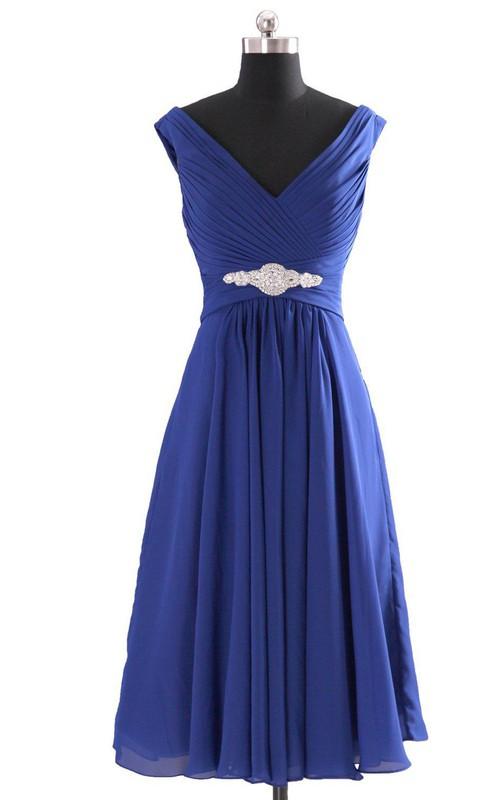 Chiffon Jewels V-Neckline Cap-Sleeved Dress
