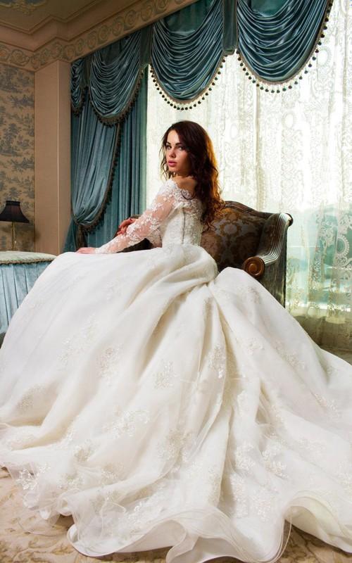 Tulle Rhinestone Satin Ball-Gown Princess Wedding Lace Dress