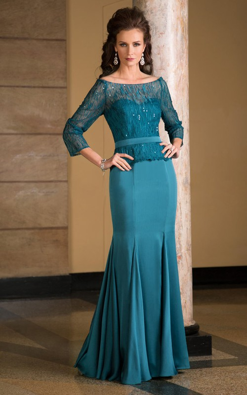 Bateau Long Sleeve Illusion Mother of the Bride Dress With Zipper