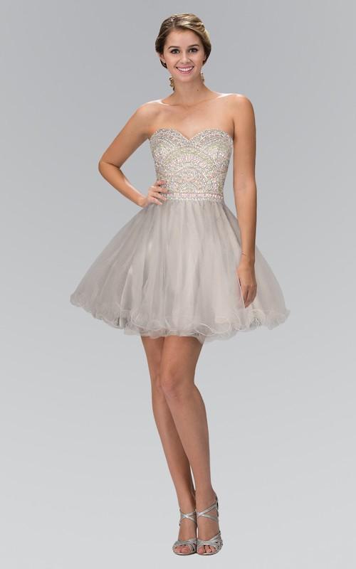 A-Line Tulle Ruffled Jeweled Short Mini Strapless Sweetheart Sleeveless Dress