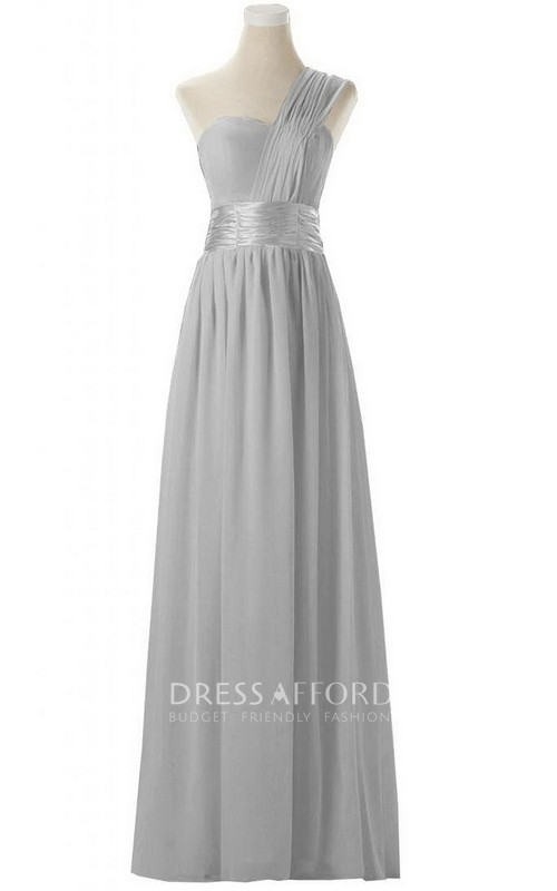 Chiffon Ruched Strap High-Waist Single-Shoulder Gown
