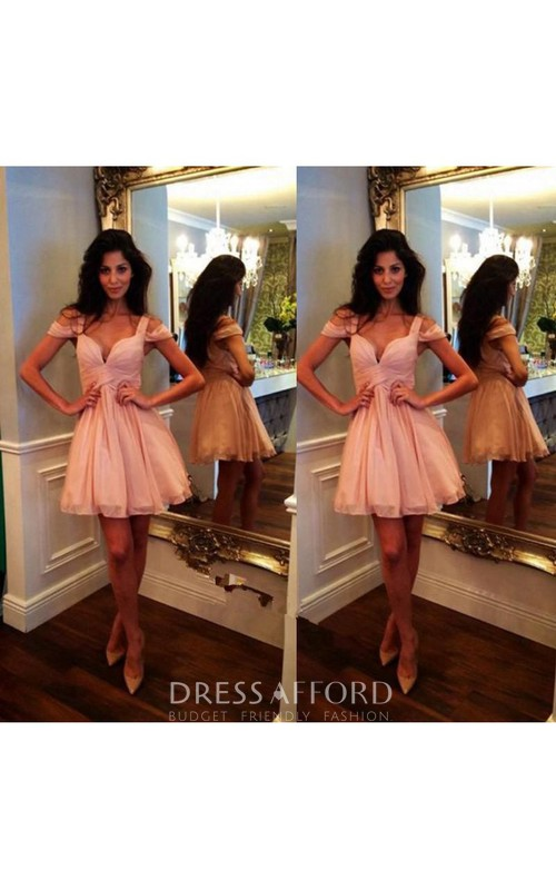 Mini Length Chiffon Cocktail Dress For Party