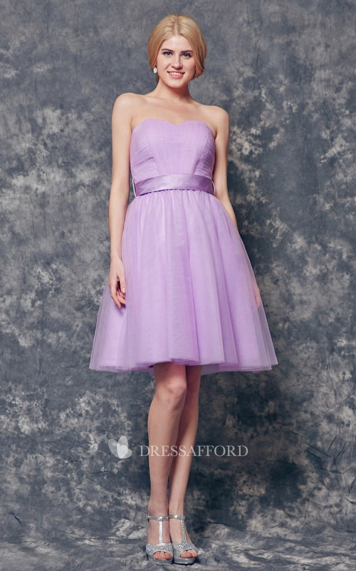 Strapless Backless A-line Short Tulle Dress With Sash