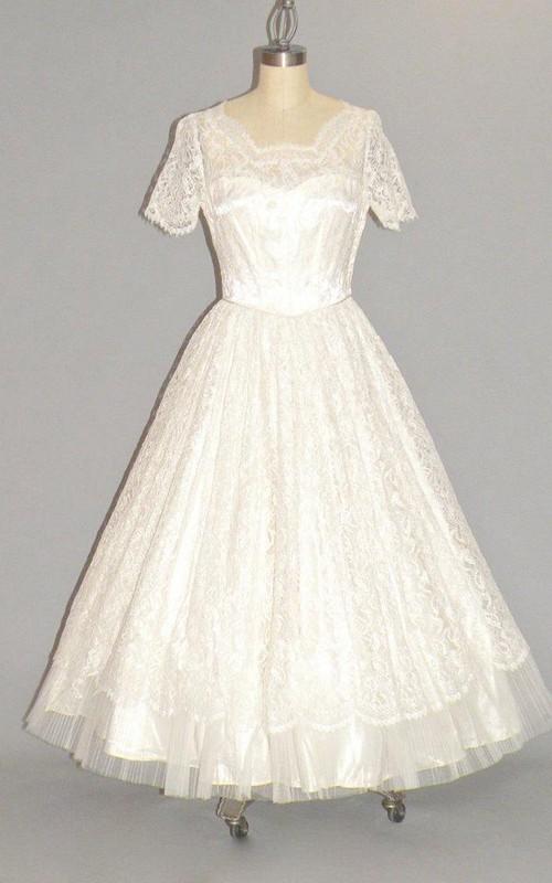 Tulle Scalloped-Neck 1950S Bridal Dress