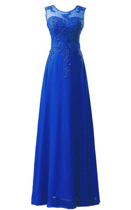 Chiffon Lace Applique Sleeveless Amazing Long Dress