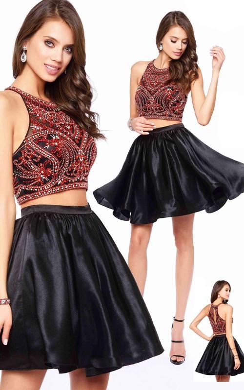A-Line Jeweled Short Mini Sleeveless Scoop-Neck Satin Dress