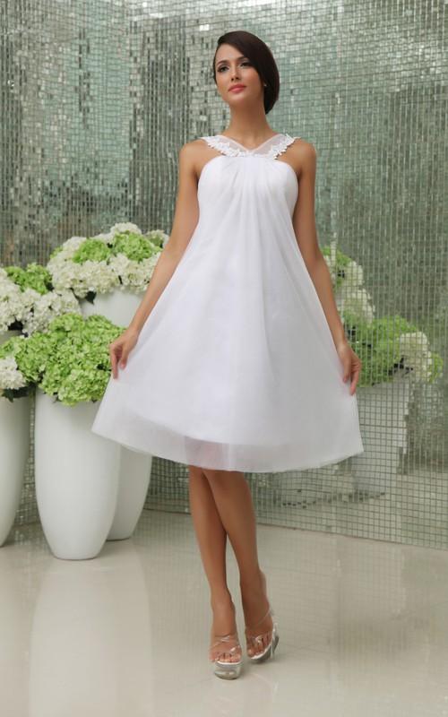 Short Strapped Tulle Overlay A-Line Lovely Dress