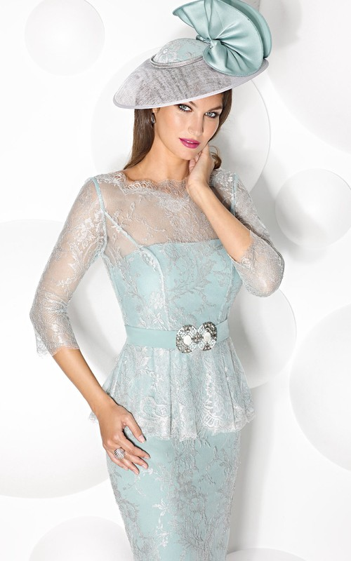Pencil Strapless midi Dress With Lace And Embellished Waist
