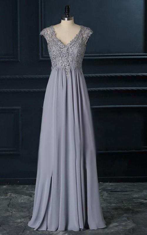 Long Lace Top A-Line V-Neckline Gown