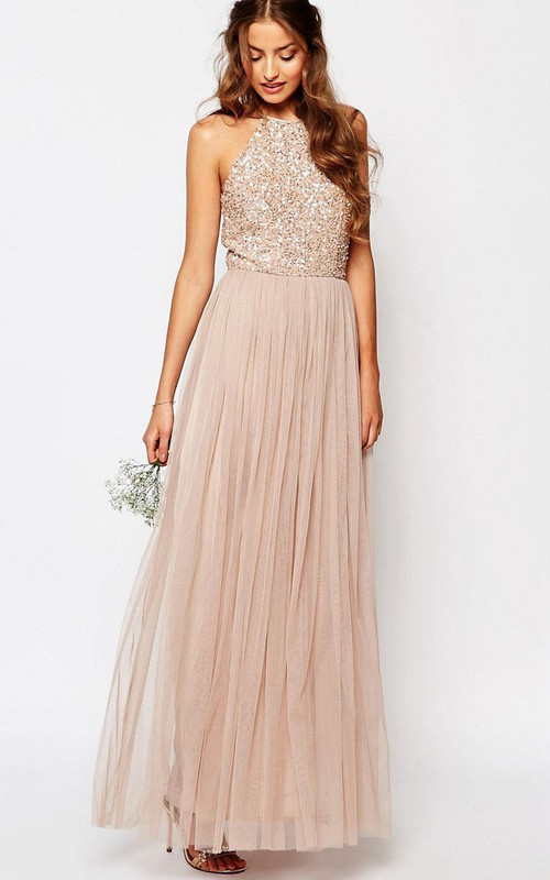 High Neck Sleeveless Tulle long Dress With Sequined top