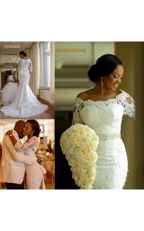 Off-the-shoulder Lace Illusion 3/4 Length Sleeve Wedding Gown