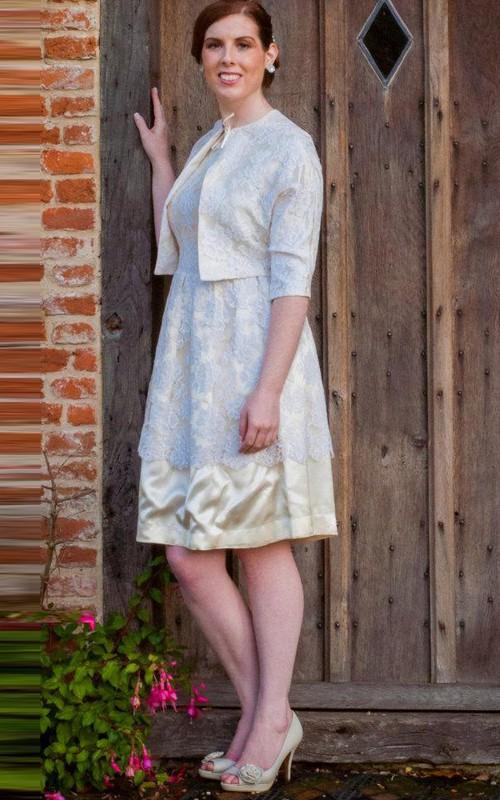 Bateau-neck Knee-length Lace Appliqued Mother of the Bride Dress