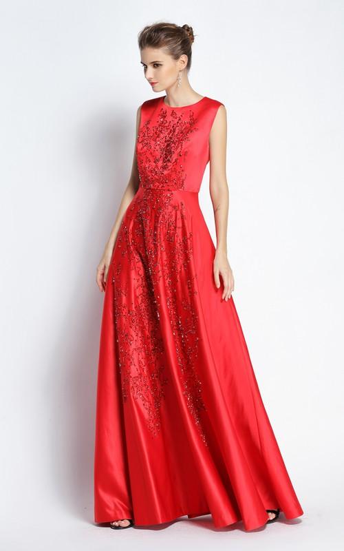 Floor-length A-Line Jewel Sleeveless Satin Prom Dress with Beading
