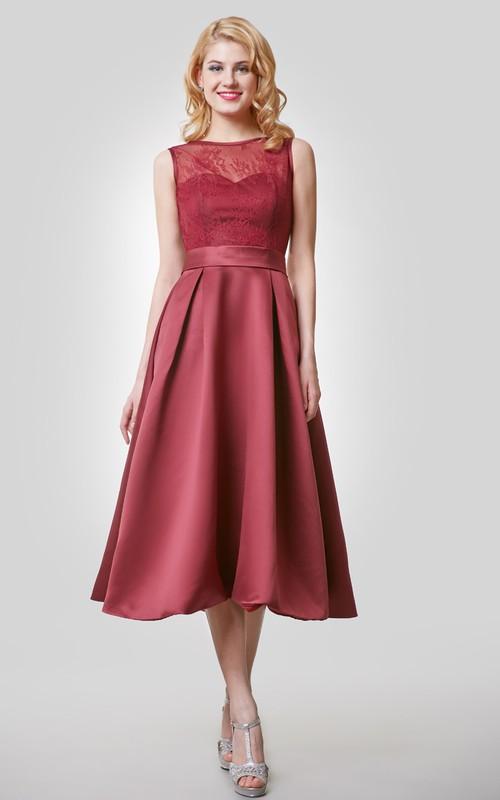 Lace Top Scoop Neckline A-Line 3-4-Length Dress