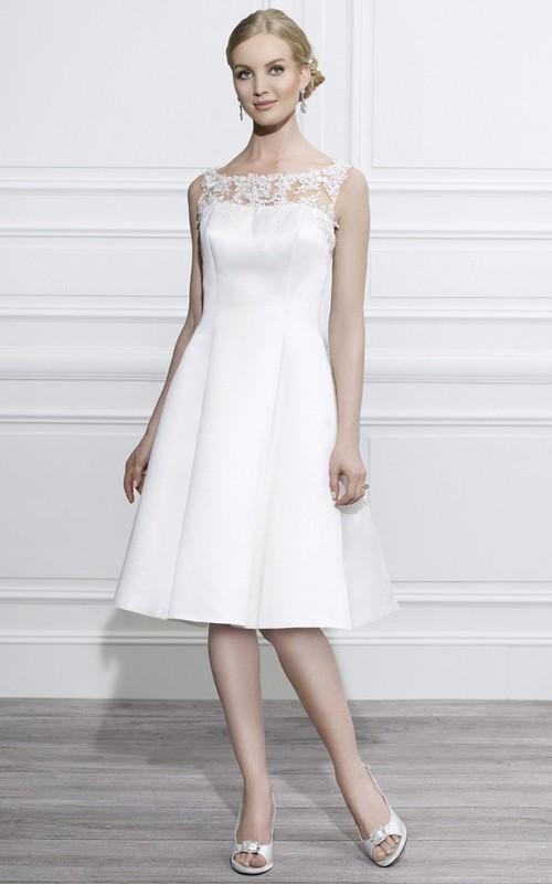 Bateau Sleeveless Satin Knee-length Dress With Lace top