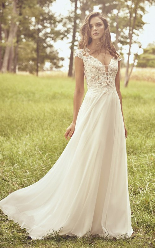Cap Sleeve Illusion Plunging Neckline Lace Chiffon Wedding Dress With Appliques And Illusion Back