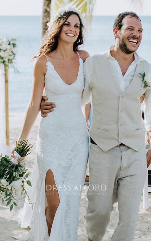 Sexy Sleeveless V-neck Floor-length Sweep Train Sheath Lace Wedding Dress with Split Front